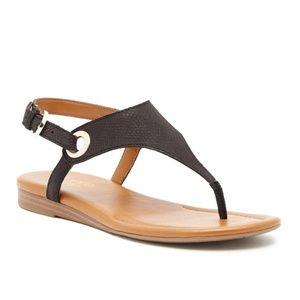 NEW Franco Sarto Goldy Black Leather Sandal